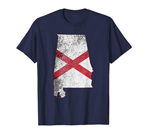 fb72d83994dc Stylish Distressed Alabama State Flag T-Shirt
