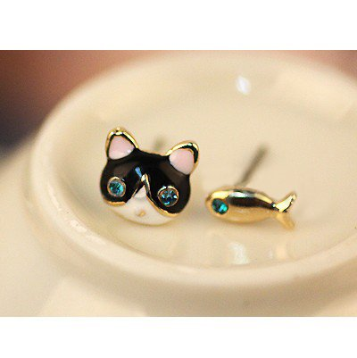 Pair of Cute Golden Earrings / Ear Studs In Cat Head And Fish Shapes With Blue Rhinestones Crystals Gemstones Eyes By (Blue Crystal Eyes Ear Cuff)