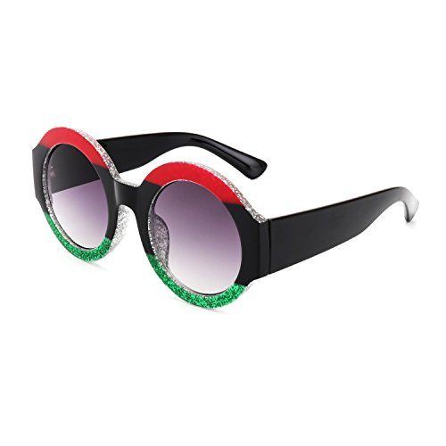 ROYAL GIRL Retro Round Sunglasses for women Fashion Tinted Acetate Frame Designer Ladies Shades ( red green)