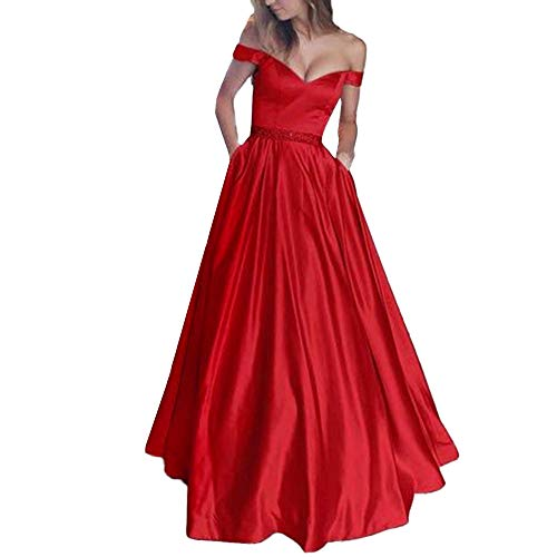 (Sherostore ♡ Women's Double V-Neck Off The Shoulder Beaded Satin Evening Prom Dress Long Evening Cocktail Gowns Red)