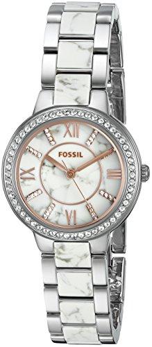 Fossil® Women's Silvertone Virginia Watch with Link Brac