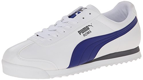 PUMA Men's Roma Basic Fashion Sneaker, White/Clematis Blue - 7.5 D(M) US