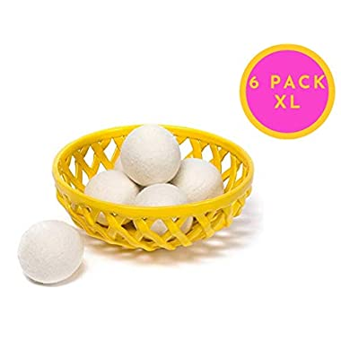 Wool Dryer Balls - Natural Fabric Softener, Reusable Handmade Nontoxic Hypoallergenic 100% Organic Made in USA - Natural Softener & Perfect for Sensitive Skin - 6-Pack