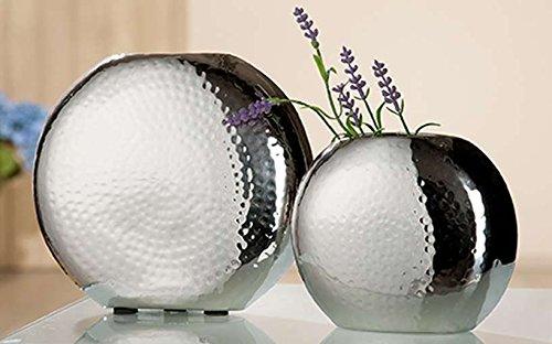 GILDE Edelstahl Vase HammeROT 2 Stück Silber poliert L = 5,5 x B = 17,5 x H = 14,5 cm