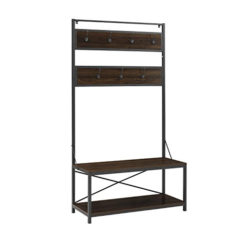 72'' Industrial Metal and Wood Hall Tree - Dark Walnut by Walker Edison