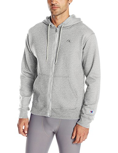 Classic Hooded Fleece Sweater - Champion Men's Powerblend Full-Zip Hoodie, Oxford Gray, Large