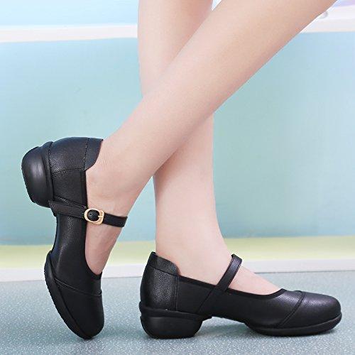 Abby 520 Mujeres Jazz Split Mary Jane Transpirable Cerrado Dedo Plano Cuadrado Zapatos De Baile De Malla Negro