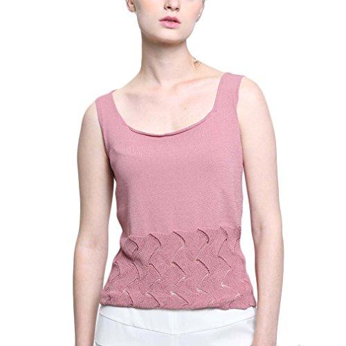 Pattern Knit Top Tank (BeMoreWithLess Women's Scoop Neck Casual Pattern Knit Sleeveless Tunic Hollow Tank Tops(Pink,S))