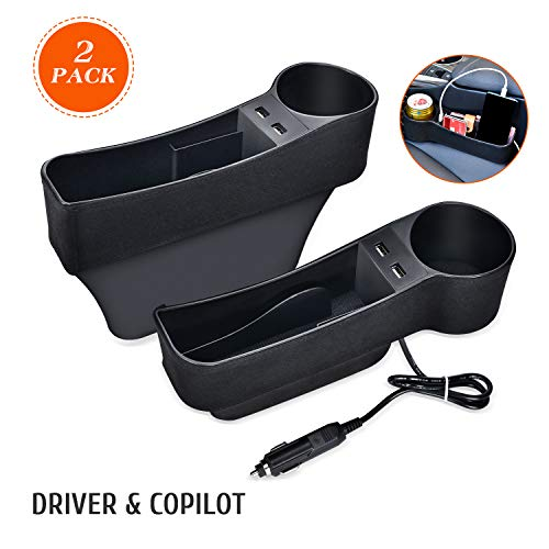 STEPIN Car Seat Gap Filler Multifunctional Car Seat Organizer with Cup Holder,Between Seat Car Organizer Not Fit Central Console Lower Than The Seat (2Pack,Black)