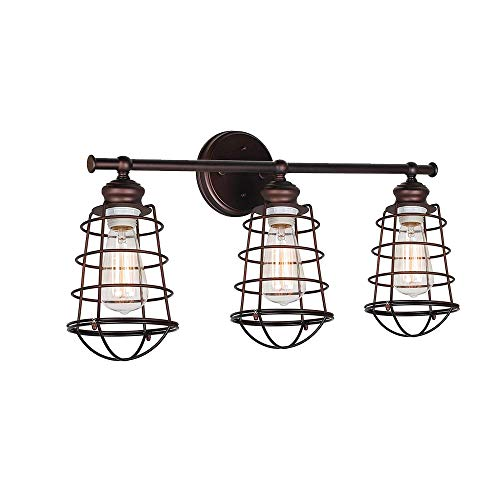 (Windsor Home Deco WH-63131 Vanity Light, Industrial Rustic Metal Cage Wall Lamp for Bathroom Lighting, 3 Lights Bathroom Lamp Over Mirror, Brown)