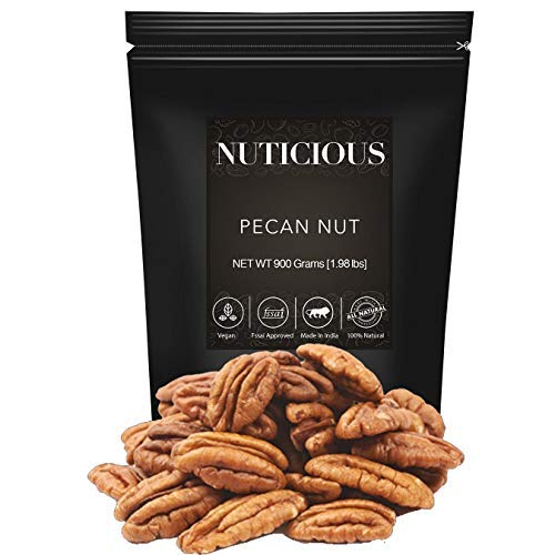 NUTICIOUS Natural Jumbo Pecan Nuts-900 gm (Gourmet Vegan Food Premium Quality)