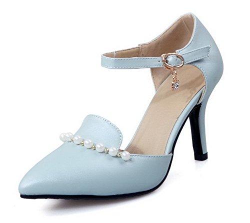 AllhqFashion Damen Rein PU Leder Hoher Absatz Spitz Zehe Schnalle Pumps Schuhe Blau