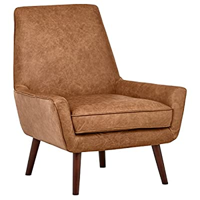 """Rivet Jamie Leather Mid-Century Modern Low Arm Accent Chair, 31""""W, Cognac - A great addition to any room, this versatile accent chair is sure to be a conversation piece. It features eye catching Mid-century inspired design with distinctive slanted arms and sturdy hardwood legs. 31""""W x 32.3""""D x 35""""H Solid hardwood frame and soft top-grain leather. - living-room-furniture, living-room, accent-chairs - 41Heo90kztL. SS400  -"""