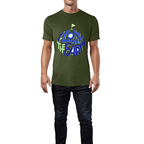 SINUS ART® Öko Print I Love The Earth Herren T-Shirts in Armee Grün Fun Shirt mit tollen Aufdruck