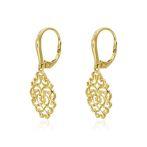 (Yellow Gold Flashed Sterling Silver Filigree Diamond-Cut Oval Leverback Dangle Drop Earrings)