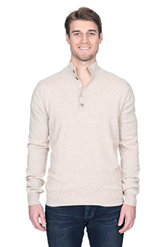 (State Fusio Men's Cashmere Wool Button Mock-Neck Classical Fashion Polo Collar Sweater Pullover)