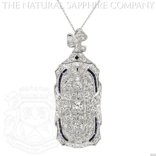 IMPORTANT ART DECO PLATINUM, SAPPHIRE AND DIAMOND PIN/PENDANT. (Art Deco Platinum Diamond Sapphire)