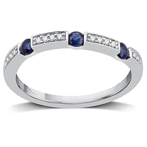 DeCarat 1/10 Carat T.W Diamond Sterling Silver Wedding Band with Sapphire ()