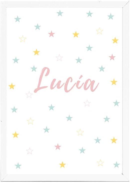 Papers rain Lámina Infantil 30x40 Personalizada con el Nombre de LUCÍA Ideal decoración habitación, Regalo Nacimiento, Bautizo. -Stars- Se envía Desde España: Amazon.es: Hogar