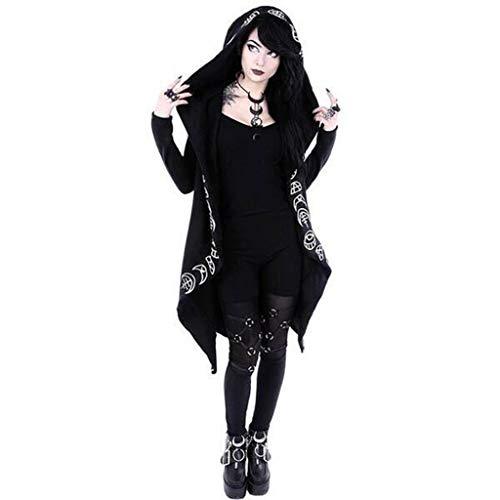 Kstare Women Gothic Punk Long Sleeve Punk Moon Print Hooded Black Sweatshirt Jacket Coat Plus Size Sweatshirt