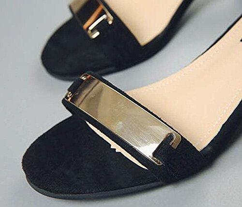 nach Metall dem Sandalen Wildleder schwarzem aus mit KUKI dicken reinem Weibliche Reißverschluss Rough mit OZCqRXw