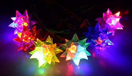 24 Pack of Spiky Squishy Star Colorful Flashing LED Light Up Necklace for Parties, Events, Functions, Celebrations (Colors May Vary)