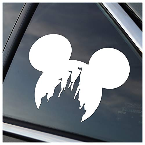 - Mickey Head with Princess Castle Vinyl Car Window Decal Sticker (White)