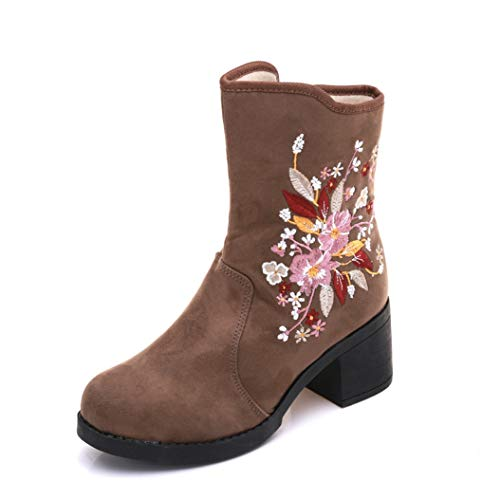 60f8bed87e438 Kyle Walsh Pa Women Embroidered Boots Square Heel Round Toe Ladies Elegant  Classic Autumn Winter Ankle Booties