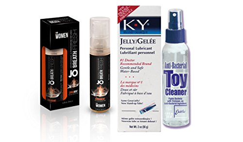 Bundle Package Of JO Breath For Women Cinnamint 5ml (12) And Anti-bacterial Toy Cleaner 4.3oz. And a K-Y Jelly 2oz. Tube by United Consortium