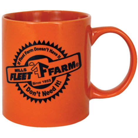 Mills Fleet Farm Orange Coffee Mug With Black Logo