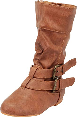 Cambridge Select Girls' Wraparound Strappy Buckle Slouch Flat Mid-Calf Boot (Toddler/Little Kid/Big Kid),11 M US Little Kid,Tan PU (Buckle Wrap Around)
