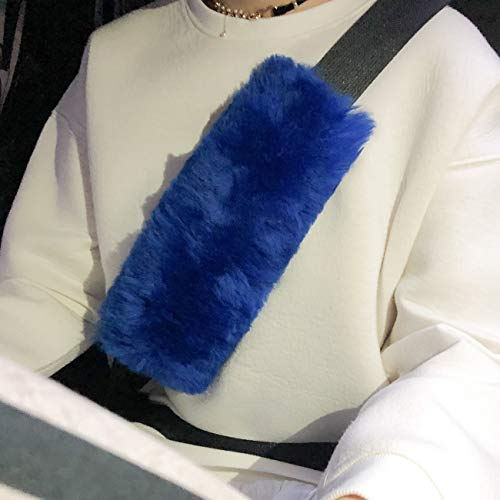 Younglingn Car Seat Belt Covers, Auto 2pcs Seatbelt Cover Adopts Australian Genuine Sheepskin Wool for Car Backpack and Shoulder Asist with Soft Comfortable Strong Straps Among All Ages (Royal Blue)