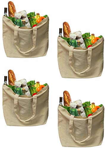 Earthwise Organic Cotton Reusable Grocery Shopping Bags Canvas Large Machine Washable Eco Friendly Biodegradable, Foldable, Durable, great for Craft Bags, 18 inches W x 14.2 inches H (Pack of 4)