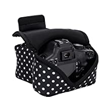 DSLR Camera Sleeve Case (Polka Dot) with Accessory Storage , Flexible Neoprene and Belt Loop by USA GEAR - Works With Canon EOS Rebel T5 , 7D , 6D, 5DS , 70D and Many Other Cameras