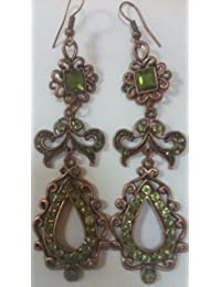 Vintage Style Princess Jasmine Earrings Green Bronze 3