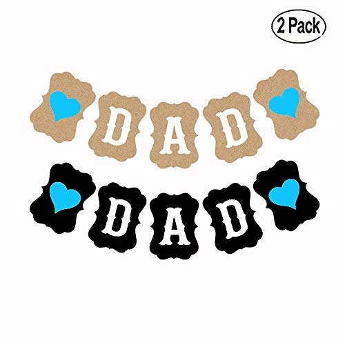 (BinaryABC Father's Day Banner,Father's Day Birthday Party Decoration Photo Prop Booth Backdrop,2 Pack(2 Different)