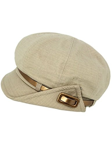 Dahlia Women's Newsboy Hat - Solid Color with Bronze Buckle Belt - Tan