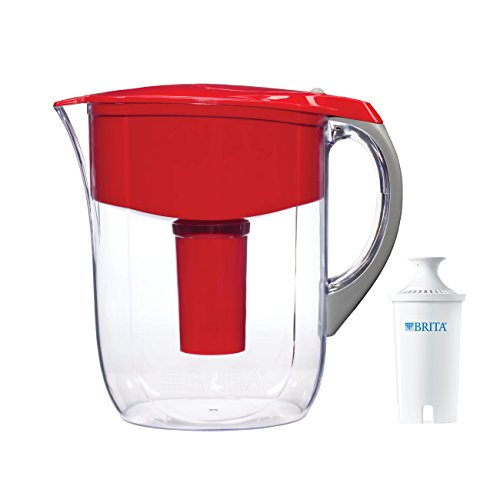 Brita Grand Water Filter Pitcher, Red,  10 Cup by Brita