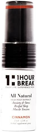 1Hour Break® Natural Remedy for Anti-Anxiety and Instant Stress Relief, Kava Oral Spray- Cinnamon, Version 2.0