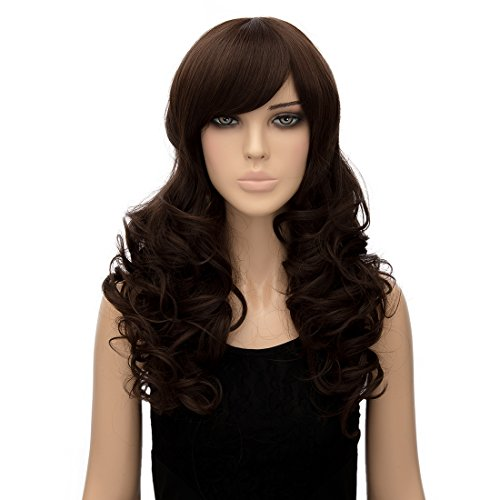 Dark Brown curls Wigs for Women Synthetic Women's Wigs fashion dresses for women 2017 24 Inch Long Wavy Wonderful Natural (Ropa De Halloween 2017)