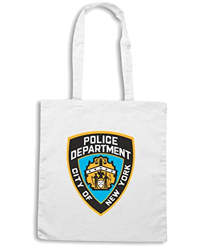 Shirt CITY DEPARTMENT NEW TM0109 Borsa CITTA YORK POLICE Shopper Bianca Speed HcWFwdqF