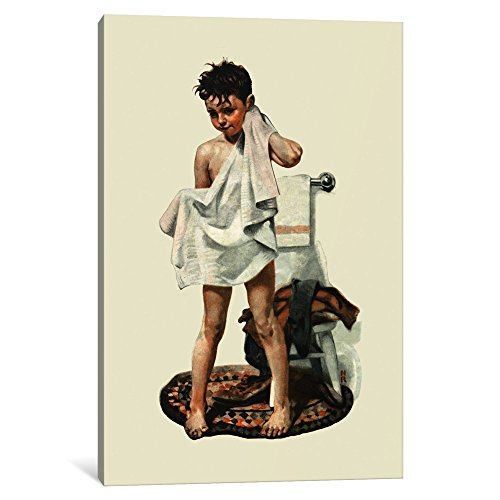 "iCanvasART 1-Piece C-L-E-A-N Canvas Print by Norman Rockwell, 12 by 8""/0.75"" Deep"