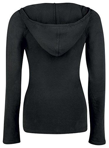 Fashion Victim Lace Wickel Hoodie Manga larga con capucha Mujer Negro Negro