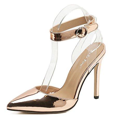 Tacco L alto XIE Vestito EUR Caviglia singolo 3 Trasparente piede Scarpe UK Dito Argento Fibbia 35 Cinghia appuntito Stiletto Discoteca Festa Donna Oro del sandali Sexy rYxrqA