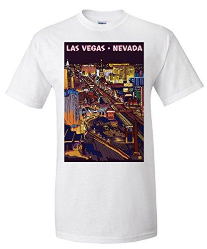 Las Vegas, Nevada - Strip at Night (White T-Shirt - At Vegas Las Caesars Shops