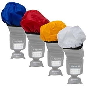 Polaroid Difusor de flash de tela de color universal (rojo, cálidos, azul, blanco) para Canon, Nikon, Olympus, Sony, Panasonic, Pentax, Sigma y otras unidades Flash externas