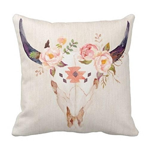 Damuyas-Bull-Head-Skull-Flowers-Watercolor-Throw-Pillow-Case-Cushion-Cover-Home-Decor