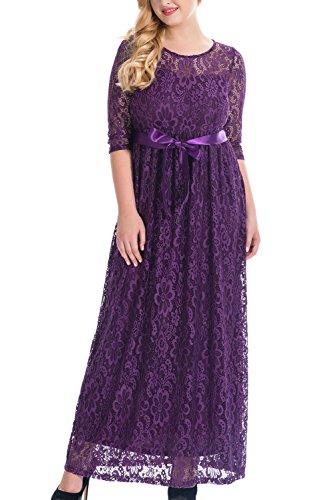 Nemidor Women's Empire Half Sleeves Floral Lace Plus Size Bridesmaid Maxi Dress (16W, Purple)