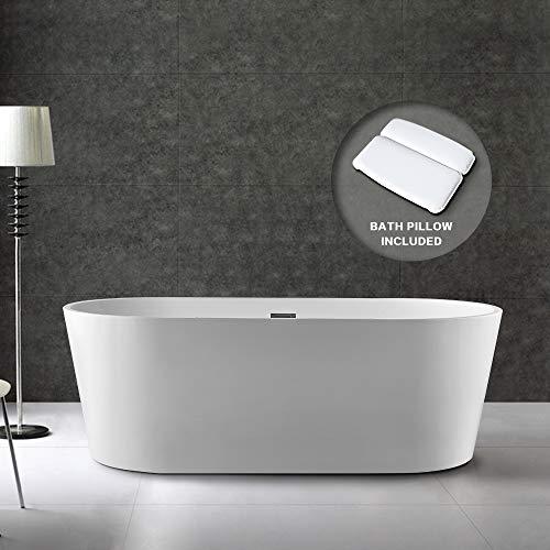 "BATH MASTER Freestanding Bathtub Acrylic Bathroom Soaking Tub with Chrome Overflow and Drain (59"", T03)"