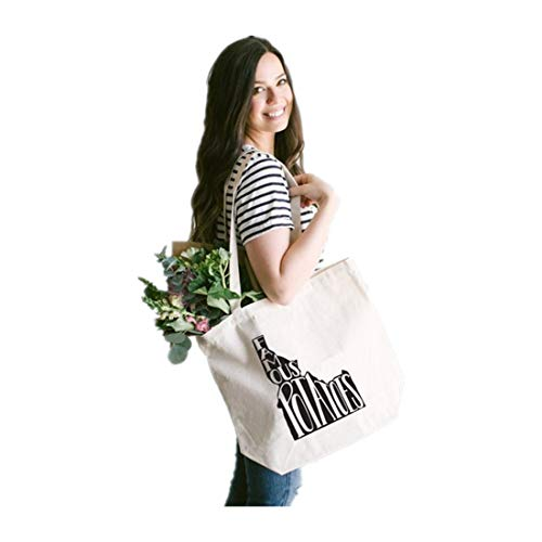 IDAHO Hand Lettered Tote Bag Design • Famous Potatoes Typographic Cotton Canvas Tote Bag • Hand Printed Idaho Bag